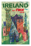 Ireland - Fly TWA Jets - Trans World Airlines - Boeing 707 over Irish Colorful Castles Giclee Print