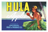 Hula Brand Apples - Topless Hawaiian Girl holding Apple - Universal Fruit and Produce Co. Giclée-tryk