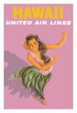 Hawaiian Hula Dancer - United Air Lines Giclée-tryk af Stan Galli