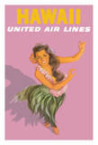 Hawaiian Hula Dancer - United Air Lines Giclee Print by Stan Galli