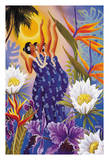 The Blossoms are Opening - Hawaiian Hula Dancers Giclee Print by Warren Rapozo