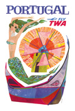 Portugal Fly TWA - Trans World Airlines - Mermaid Windmill Giclee Print