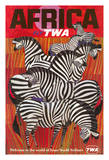 Africa - Trans World Airlines Fly TWA - Zebras Reproduction procédé giclée