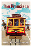 San Francisco - United Air Lines - Van Ness, California & S. Market Streets Cable Car Giclee Print by Stan Galli