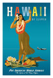 Hawaii By Clipper - Pan American World Airways (PAA) - Hawaiian Hula Girl (2 of 2) Giclée-tryk af  Atherton