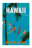 Jet Clippers to Hawaii - Pan American Airlines (PAA) - Hawaiian Surfers Linking Hands Giclée-tryk af Aaron Fine