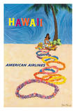 Hawaii - American Airlines - Native Hawaiian Girl Making Leis Giclee Print by John Fernie