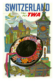 Switzerland - Trans World Airlines Fly TWA Reproduction procédé giclée
