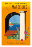 Marseilles, Direct Clipper Flights To Marseilles - Pan American World Airways (PAA) Giclee Print by Jean Carlu