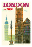 London UK - Trans World Airlines Fly TWA - Westminster Abbey Church Reproduction procédé giclée
