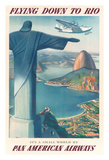 Flying Down to Rio Brazil - Pan American Airways (PAA) - Christ the Redeemer Statue Impressão giclée por Paul George Lawler