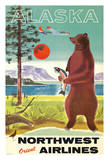 Alaska - Northwest Orient Airlines - Kodiak Alaskan Brown Grizzly Bear Giclee Print