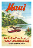 Maui, Hawaii - United Airlines - Hawaiian Outrigger Canoe (Wa'a) Giclee Print by  Hollenbeck