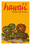 Hawaii - United Air Lines - Native Hawaiian Grass Huts Giclee Print by  Jebray