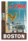 Boston, Massachusetts - Trans World Airlines Fly TWA - Ship in a Bottle and Rooster Weathervane Giclee Print by William Ward Beeche