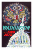 Washington DC - Trans World Airlines Fly TWA Jets - American Eagle Freedom Fireworks Giclée-vedos