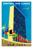 United Nations Building, New York - United Air Lines Giclée-tryk af Joseph Binder