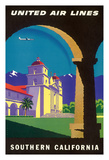 Southern California - Spanish Mission - United Air Lines Giclee Print by Joseph Binder