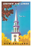 New England - United Air Lines - Georgian Steeple Giclee Print by Joseph Binder