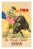 The La Fiesta del Toros (The Festival of the Bulls) in Spain - Trans World Airways Fly TWA Giclee Print by Juan Reus