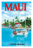 Maui - United Airlines - Sail Boat Ahe Lau Makani (There Is A Breath) at the Wharf Lahaina Harbor Giclee Print by  Hagel