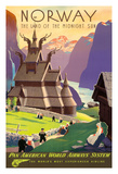Norway, The Land of the Midnight Sun - Stave Church - Pan American World Airways System (PAA) Giclee Print by Ivar Gull