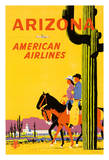 Arizona - American Airlines - Riders on Horseback - Saguaro Cactus, State Flower of Arizona Giclee Print by Fred Ludekens