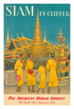 Thailand by Clipper - Pan American World Airways - Monks at Wat Phra Kaeo, Temple of Emerald Buddha Giclee Print by Charles Baskerville