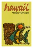 Hawaii - United Air Lines - Tiki and Moorish Idol (Kihi Kihi) Fish Giclee Print by  Jebavy