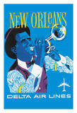 New Orleans - Delta Air Lines - Jazz Trumpet Player Giclee Print