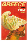 Greece - Trans World Airlines Fly TWA Jets - Greek Warrior Giclee Print
