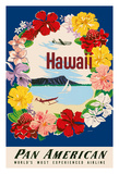 Hawaii - Pan American Airlines (PAA) - Flower Lei and Diamond Head Crater Giclee Print by A. Amspoker