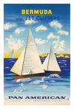 Bermuda via Jet Clippers - Fly Pan American Airlines (PAA) - Sailboats in Somers Isles Giclee Print