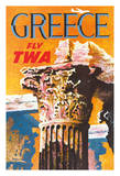 Greece - Trans World Airlines Fly TWA - Corinthian Style Greek Column Giclee Print