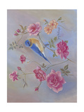 Blue Bird in Roses Prints by Judy Mastrangelo