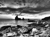 B&W Tide Pools and Rocks Photographic Print by Nish Nalbandian