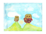 Hilltop Owls Prints by Ingrid Blixt