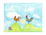 Hilltop Roosters Poster by Ingrid Blixt