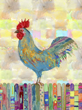 Rooster on a Fence II Prints by Ingrid Blixt