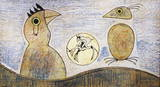 Composition in ochre and blue Collectable Print by Max Ernst