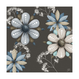 Blue Floral on Sepia I Premium Giclee Print by Jade Reynolds