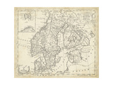 T. Jeffreys - Map of Sweden and Denmark - Poster
