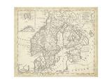 Mapa de Suecia y Dinamarca Pósters por T. Jeffreys