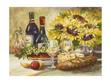 Wine and Sunflowers Print by Jerianne Van Dijk