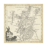 Map of Scotland Poster di T. Jeffreys