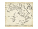 T. Jeffreys - Map of Italy - Poster