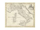 Mapa de Italia  Póster por T. Jeffreys
