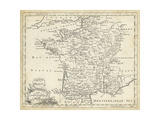 Map of France Plakaty autor T. Jeffreys