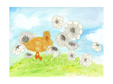 Duck and Flowers Print by Ingrid Blixt