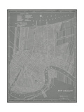 Mapa de la ciudad de Nueva Orleans Arte por Vision Studio